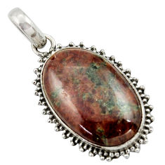 19.72cts natural green grass garnet 925 sterling silver pendant jewelry r41681