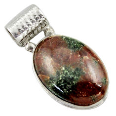 19.72cts natural green grass garnet 925 sterling silver pendant jewelry r41685