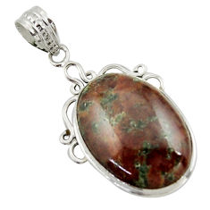 19.23cts natural green grass garnet 925 sterling silver pendant jewelry r41686