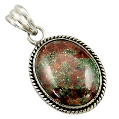 19.72cts natural green grass garnet 925 sterling silver pendant jewelry r41693