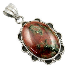 19.65cts natural green grass garnet 925 sterling silver pendant jewelry r41694