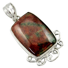 19.72cts natural green grass garnet 925 sterling silver pendant jewelry r41695
