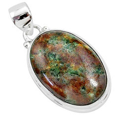 17.57cts natural green grass garnet 925 sterling silver pendant jewelry r94850