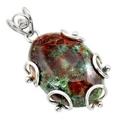 29.90cts natural green grass garnet 925 sterling silver pendant jewelry t31825