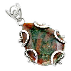 22.24cts natural green grass garnet 925 sterling silver pendant jewelry t31829
