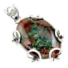 25.78cts natural green grass garnet 925 sterling silver pendant jewelry t31830