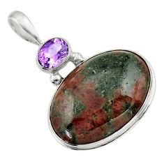 24.38cts natural green grass garnet amethyst 925 sterling silver pendant r31937