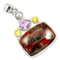 Clearance Sale- 28.86cts natural green grass garnet amethyst pearl 925 silver pendant d45293