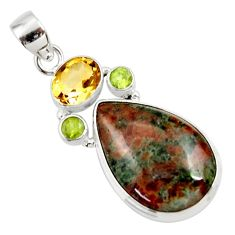 Clearance Sale- 22.02cts natural green grass garnet citrine 925 sterling silver pendant d45295