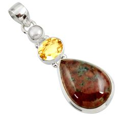 Clearance Sale- 20.88cts natural green grass garnet citrine pearl 925 silver pendant d45288