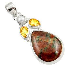 Clearance Sale- 18.70cts natural green grass garnet citrine pearl 925 silver pendant d45300