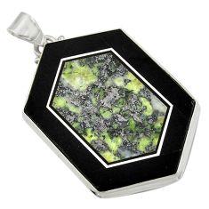 Clearance Sale- 59.10cts natural green kambaba jasper (stromatolites) 925 silver pendant d42792