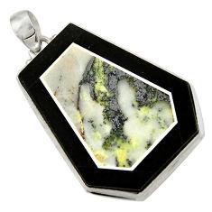 Clearance Sale- 50.90cts natural green kambaba jasper (stromatolites) 925 silver pendant d42804