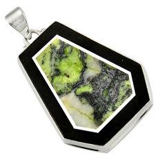Clearance Sale- 47.85cts natural green kambaba jasper (stromatolites) 925 silver pendant d42811