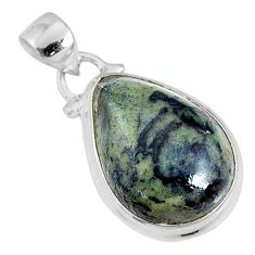 13.15cts natural green kambaba jasper (stromatolites) 925 silver pendant r76493