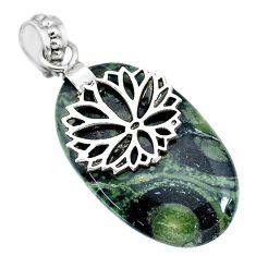 20.65cts natural green kambaba jasper (stromatolites) 925 silver pendant r90829