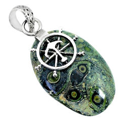 16.65cts natural green kambaba jasper (stromatolites) 925 silver pendant r90830