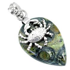 20.86cts natural green kambaba jasper (stromatolites) silver crab pendant r90825