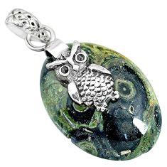17.32cts natural green kambaba jasper (stromatolites) silver owl pendant r90839