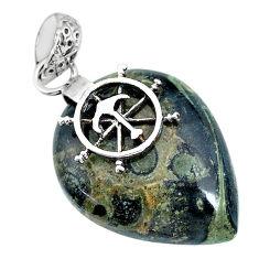 18.57cts natural green kambaba jasper (stromatolites) silver pendant r90828