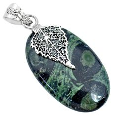 28.45cts natural green kambaba jasper 925 silver deltoid leaf pendant r74425