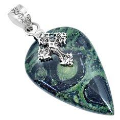 31.58cts natural green kambaba jasper 925 silver holy cross pendant r74427