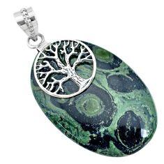 45.08cts natural green kambaba jasper 925 silver tree of life pendant r74428