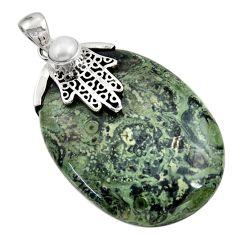 Clearance Sale- 55.62cts natural green kambaba jasper silver hand of god hamsa pendant d45526