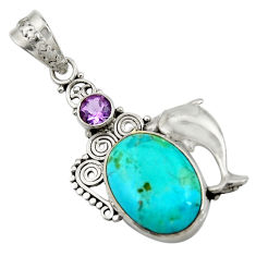 14.61cts natural green kingman turquoise 925 silver dolphin pendant d42838