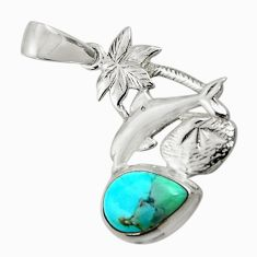 4.69cts natural green kingman turquoise 925 silver dolphin pendant d42853