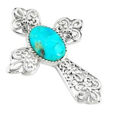 5.75cts natural green kingman turquoise 925 silver holy cross pendant c10778