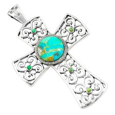 4.48cts natural green kingman turquoise 925 silver holy cross pendant c10779