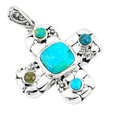 4.21cts natural green kingman turquoise 925 sterling silver pendant c10773