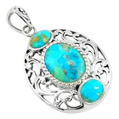 6.76cts natural green kingman turquoise 925 sterling silver pendant c10809