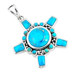 6.92cts natural green kingman turquoise 925 sterling silver pendant c10817