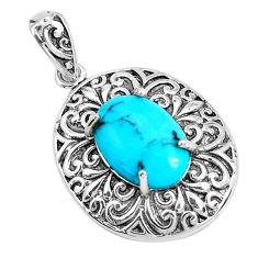 3.68cts natural green kingman turquoise 925 sterling silver pendant c10832