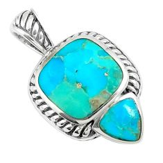 6.63cts natural green kingman turquoise 925 sterling silver pendant c10833