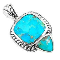 7.24cts natural green kingman turquoise 925 sterling silver pendant c10834