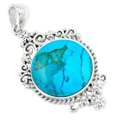 10.02cts natural green kingman turquoise 925 sterling silver pendant c10835