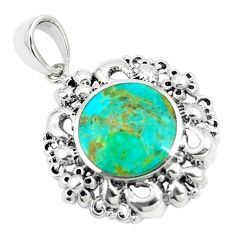 5.63cts natural green kingman turquoise 925 sterling silver pendant c10837