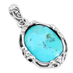 6.58cts natural green kingman turquoise 925 sterling silver pendant c10849