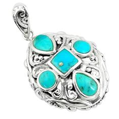 4.19cts natural green kingman turquoise 925 sterling silver pendant c10852