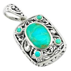 5.10cts natural green kingman turquoise 925 sterling silver pendant c10854