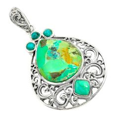 9.86cts natural green kingman turquoise 925 sterling silver pendant c10855