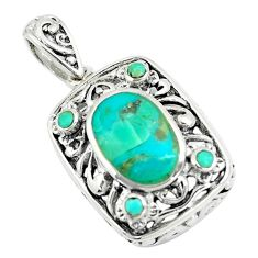 3.83cts natural green kingman turquoise 925 sterling silver pendant c10856