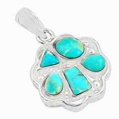 2.92cts natural green kingman turquoise 925 sterling silver pendant c10881
