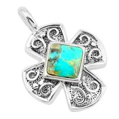 2.44cts natural green kingman turquoise 925 sterling silver pendant c10883