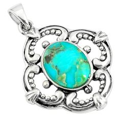 2.98cts natural green kingman turquoise 925 sterling silver pendant c10891