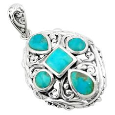 3.83cts natural green kingman turquoise 925 sterling silver pendant c10900