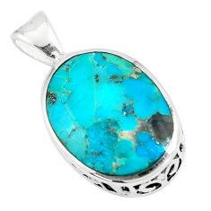 7.97cts natural green kingman turquoise 925 sterling silver pendant c11007